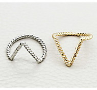 anillos shixin® forma toque europeo de mujeres midi (plata, oro) (2 piezas)