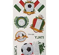 2PCS Football Pattern Italy World Cup Waterproof Tattoo Body Temporary Glitter Stickers