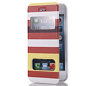 Elegant Brown Strips Pattern PU Full Body Case with Dual Front Windows and Stand for iPhone 5/5S