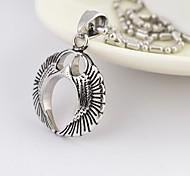 Vintage Men's   Black Silver Titanium Steel Pendant Necklace