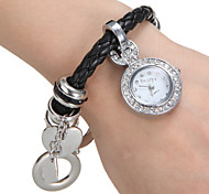 Women's Diamante Round Dial PU Band Quartz Analog Bracelet Watch Cool Watches Unique Watches