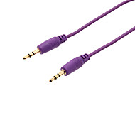 3.5mm Male to Male Nylon AUX Audio Connection Cable (Purple, 1M)
