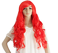 Red Long Synthetic Wavy Wig Side Bang
