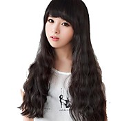 Women Long Wavy Natural Black Synthetic Fashion Full Bang Wigs