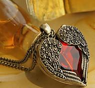 formato de coração lureme®vintage strass vermelho colar de pingente (1 pc)