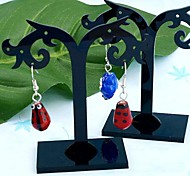 Fashion Acrylic  Flower Jewelry Display Stand For Earrings (Black)(2pcs)
