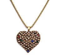 Vintage Hollow (Cuore-figura) collana del pendente della lega di oro (1 Pc)
