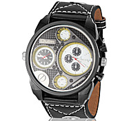 Men's Dual Time Zones Two-movement Round Dial PU Band Quartz Analog Wrist Watch