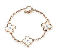 presente do Natal ouro rosa 18k banhado austria cristal triplo flor cadeia pulseira pingente \