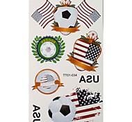 2PCS Football Pattern America World Cup Waterproof Tattoo Body Temporary Glitter Stickers