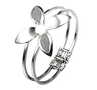 Sweet Clover Glitter 18 centimetri Donne lega d'argento Bangle (1 Pc)