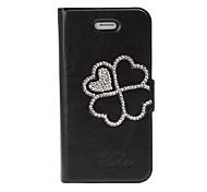 Vier Blätter Klee-Muster mit Strass Ledertasche mit Ständer für iPhone 4/4S
