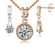 Or blanc 18 carats plaqué or rose cristal simulé collier de diamants boucles d'oreilles ensembles /