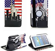 For Samsung Galaxy Case with Stand / Flip / 360° Rotation Case Full Body Case City View PU Leather Samsung Tab 3 7.0