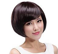 Fashion  Hair  Chestnut   Color   Oblique  Bangs   Short   Straight   Hair  Wig