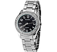 Unisex Diamante All Matched Round Dial Alloy Band Quartz Analog Fashion Watch