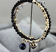 Moda Coração Com Sphere 25 centímetros de liga de ouro Charm Bracelet das mulheres (preto, branco) (1 Pc)