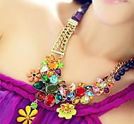 lureme®vintage flores coloridas jóia colar