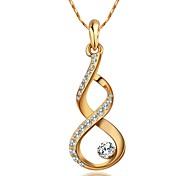 18K White/Rose Gold Plated Shining Austria Crystal Calabash Pendant Necklace