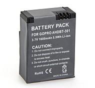 2 PCS de alta capacidad (de 1600Mah) AHDBT-301 Go Pro Digital de la batería recargable para GoPro HD Hero Hero 3 y 3 + Para Go Pro