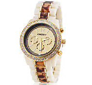 Women's Elegant Diamond Case Amber Pattern Ceramic Band Quartz Wrist Watch (Assorted Colors)