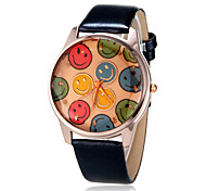 Women's Analog Colorful Smiling Faces Round Dial PU Band Quartz Analog Casual Watch (Assorted Color)