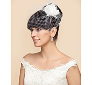 Wedding Veil One-tier Blusher Veils / Birdcage Veils Tulle White / Black White / BlackA-line, Ball Gown, Princess, Sheath/ Column,