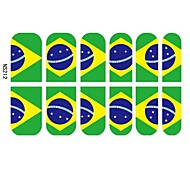 12 PCS 3D Full Finger Nail Tips Stickers For Brazil Football Fans