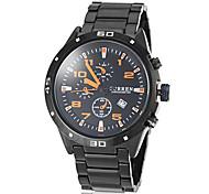 Men's Racing Dial Black Steel Band Quartz Wrist Watch