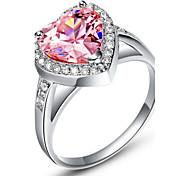 Dolce nastro Rosa Con anello Cubic Zirconia Cuore delle donne Cut (1 Pc)