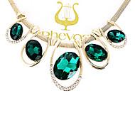 z&X® collana europea strass lega forma ovale choker (verde, blu) (1 pc)