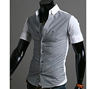 Men's Thin Stripes Contrast Color Casual Short Sleeve Shirts