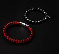 Cuero rojo barato de la pulsera + Negro Ronda de piedra de la aguja del holograma Pulsera (2 unidades)
