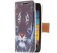 Tiger Head Style Leather Case with Card Slot and Stand for Samsung Galaxy S Advance i9070
