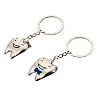Cute Smile Of Teeth Silver Stainless Steel Keychain(2 Pcs)