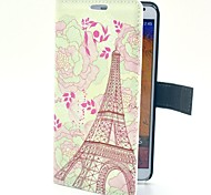 Hand-painted Flower Tower Pattern PU Leather Case with Stand Card for Samsung Galaxy Note3 N9000