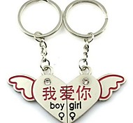 """(2 PC) Beautiful Angel Wings Heart-Shaped Puzzles in Chinese """"I Love You"""" A Couple Of High-Grade Stainless Steel Keychain"""