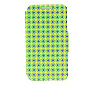 Kinston Blue and Yellow Diamond Pattern PU Leather Full Body Case with Stand for Huawei P6
