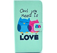 Lovely Owls Pattern PU Leather Case with Stand Card Holder for Samsung Galaxy Note 3 N9000