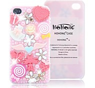 HOHONG (TM) Voll Bling Perle Lovely Pink Fairy Party-Case für iPhone 4 / 4S