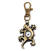 Unisex Bronze Gecko Patern Alloy Analog Quartz Keychain Watch