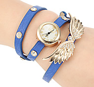 Women's Crystal Wing Decor Leather Band Quartz Bracelet Watch (Assorted Colors)