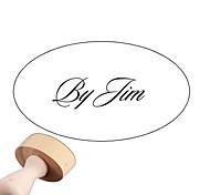 Personalizado casamento 30x40mm & Negócios estilo suave Fonte Oval Esculpido Boxwood Signet Name Stamp (dentro de 10 cartas em inglês)