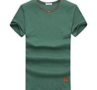 T-shirt Uomo Casual Con stampe Cotone Manica corta-Blu / Verde / Arancione / Bianco / Grigio