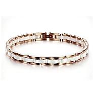 Beautiful Fashion Jewelry Plating Titanium Steel Rose Between Ms White Ceramic Bracelet