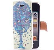 Arbre de dragon de style Flip Case en cuir avec le stand et le logement pour carte pour l'iPhone 4/4S