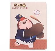 Modelo lindo Gorilas de dibujos animados y jugar béisbol de la PU caso completo de cuerpo con el soporte para el iPad 2/3/4