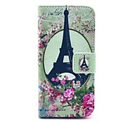 Housse en cuir Full Body célèbre motif Tour Eiffel Fleur Rose avec porte-cartes pour l'iPhone 5C