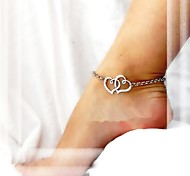 Shixin® Classic Double Heart Pattern Alloy Anklet(Golden,Silver)(1 Pc)