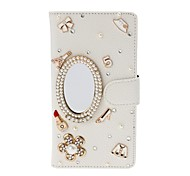 DIY Mirror Cosmetics with Rhinestone/Pearl Pattern Litchi Texture Leather Case with Stand for Sony Xperia C S39h